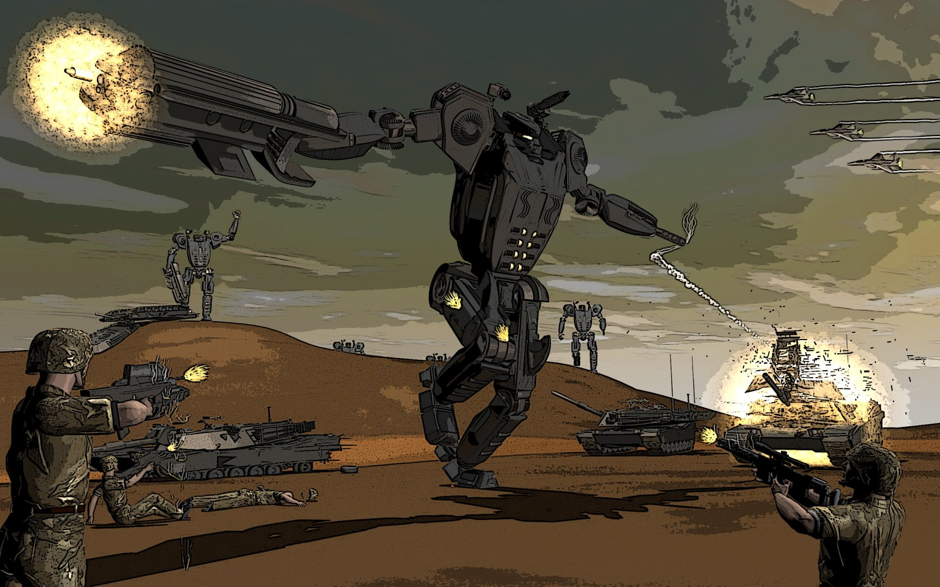 Sci Fi - Robot  War Artistic Wallpaper