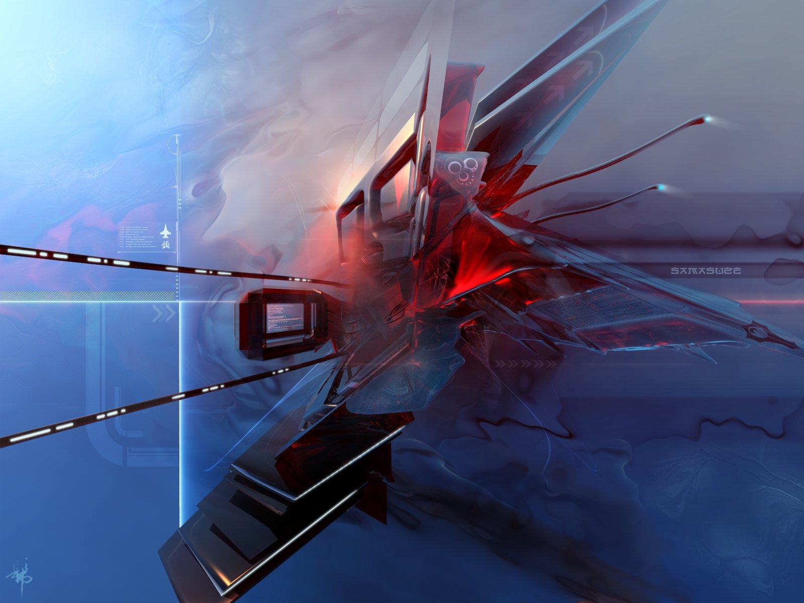 Abstract - Blue  Colors Artistic Abstract 3D CGI Digital Wallpaper