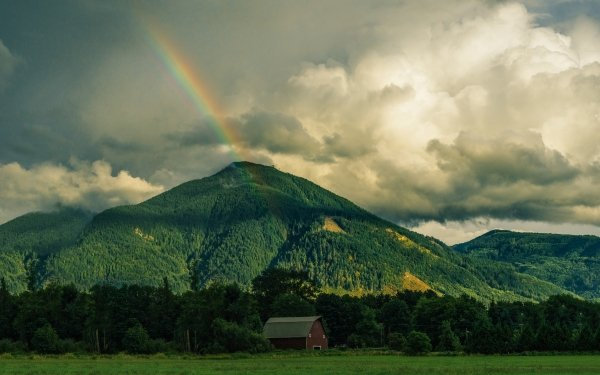 Earth Rainbow Cloud Mountain Forest Barn HD Wallpaper | Background Image
