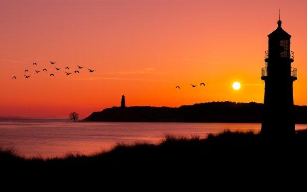 Man Made Lighthouse Buildings Sunset Ocean Flock Of Birds HD Wallpaper | Background Image