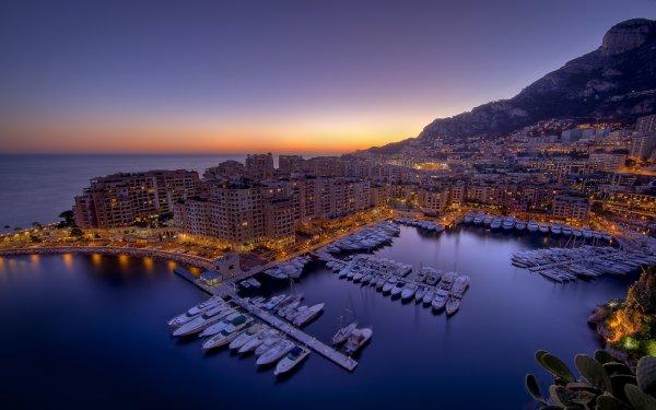 Man Made Monaco Cities City Bay Marina Dusk Light Twilight Water Boat HD Wallpaper | Background Image