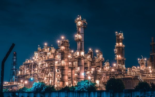 Man Made Factory Industrial Night HD Wallpaper | Background Image
