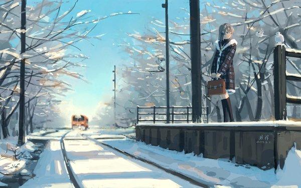 Anime Clannad Winter Tram Snow Tomoyo Sakagami HD Wallpaper | Background Image