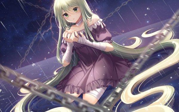 Anime Original Long Hair Rubia Chain Bandage Green Eyes Lluvia Fondo de pantalla HD | Fondo de Escritorio