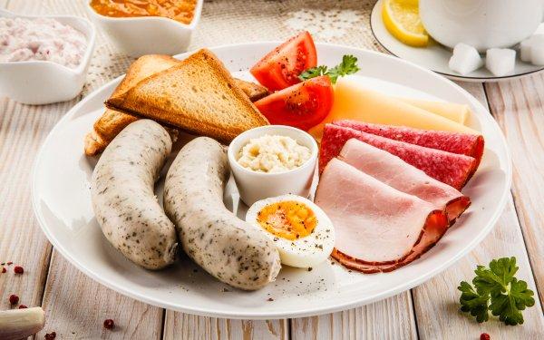 Alimento Desayuno Sausage Huevo Toast Carne Fondo de pantalla HD | Fondo de Escritorio