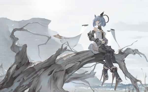 Anime Girl Tree Gascogne Blue Hair Short Hair HD Wallpaper | Background Image
