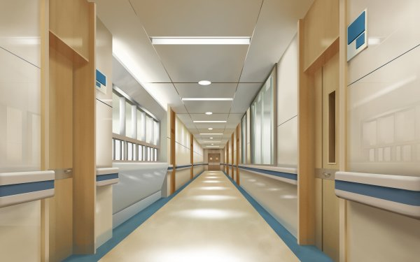 Anime Original Hospital Hallway HD Wallpaper   Background Image