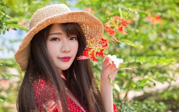 Women Asian Model Brunette Hat HD Wallpaper | Background Image