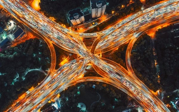 Man Made Highway Night Road Aerial Freeway Shanghai China HD Wallpaper | Background Image