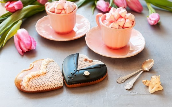 Holiday Wedding Groom Bride Marshmallow Still Life Cookie Cup Tulip Pink Flower Heart-Shaped Love HD Wallpaper | Background Image