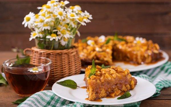 Alimento Tarta Pastry Té Flor Bodegón Hoja Cup Depth Of Field Plate Fondo de pantalla HD | Fondo de Escritorio