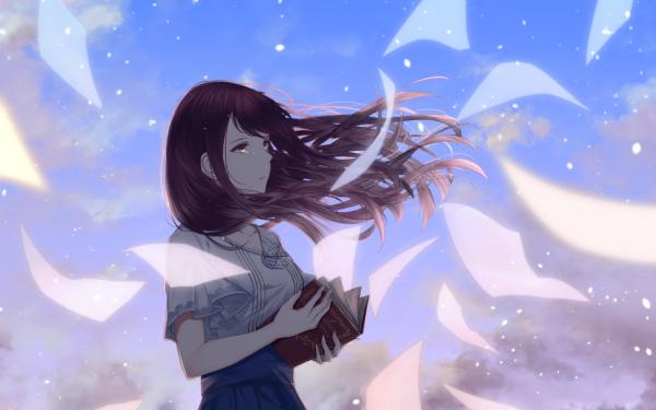 Anime Original Book Purple Hair Tears HD Wallpaper   Background Image