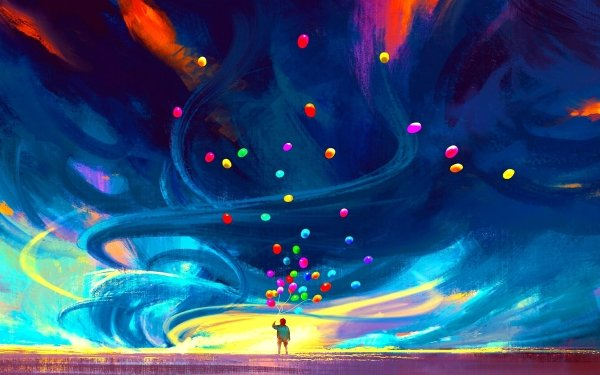 Artistic Child Sky Colorful Balloon HD Wallpaper | Background Image
