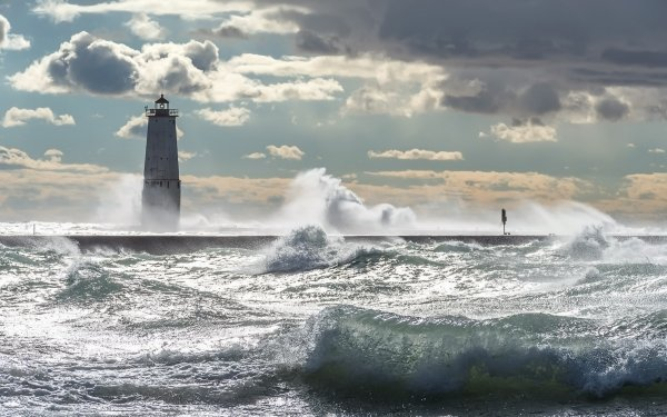 Man Made Lighthouse Buildings Wave Cloud Sky HD Wallpaper | Background Image