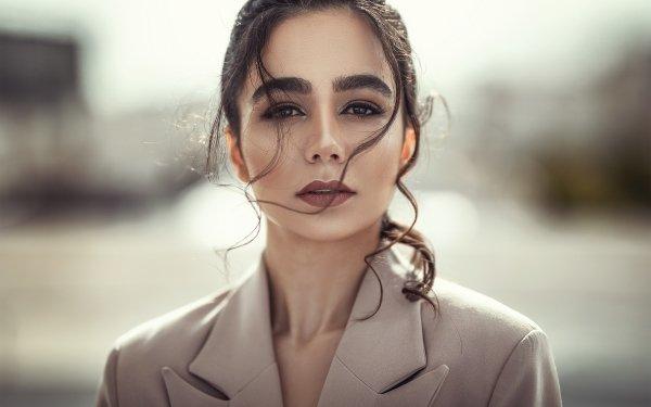 Kvinnor Model Models Flicka Depth Of Field Lipstick Brunette Face HD Wallpaper | Background Image