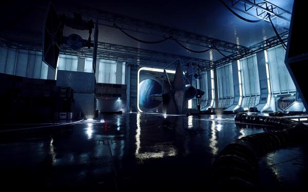Video Game Star Wars Battlefront II (2017) Star Wars Death Star Reflection TIE Fighter Hangar HD Wallpaper | Background Image
