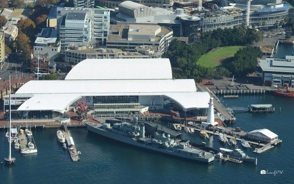 Man Made Australian National Maritime Museum HMAS Vampire Destroyer Ship Museum Aerial HD Wallpaper | Background Image