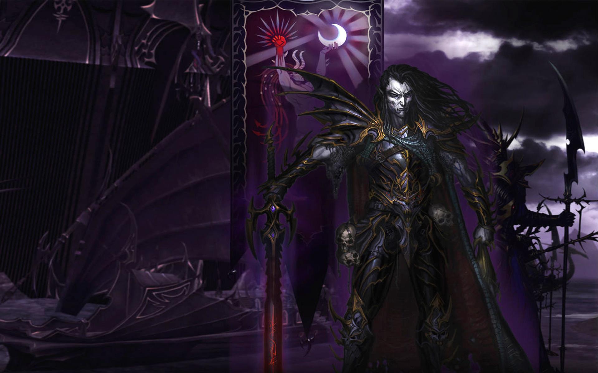 Видеоигры - Warhammer  Malus Darkblade Видеоигры Игры Война колдун Тьма Weapon Череп Обои