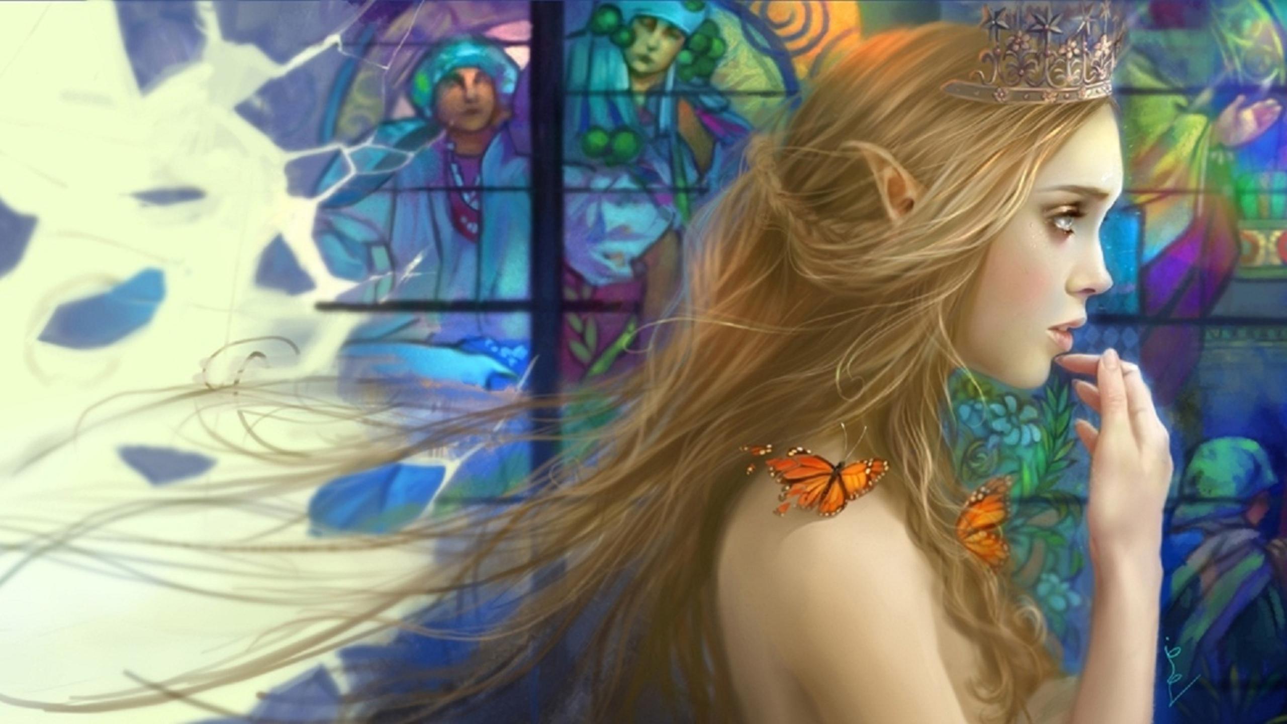 Fantaisie - Elfe  Fantaisie Princess Papillon Crown Fond d'écran