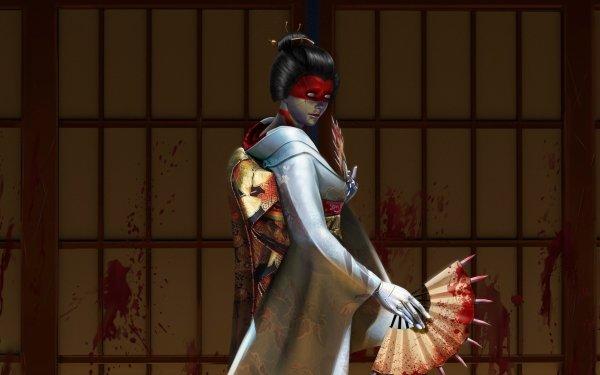 Sci Fi Cyborg Asian Geisha Blood Cyberpunk Fan Black Hair HD Wallpaper | Background Image