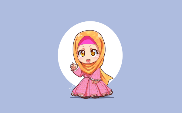 Anime Original Hijab Chibi HD Wallpaper   Background Image