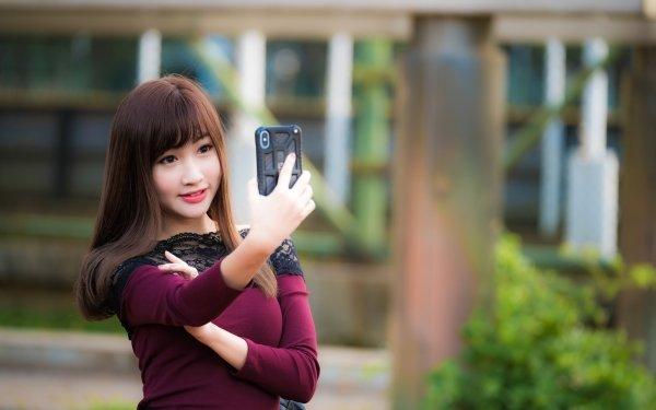 Women Asian Girl Selfie Woman Model Brunette Depth Of Field HD Wallpaper | Background Image