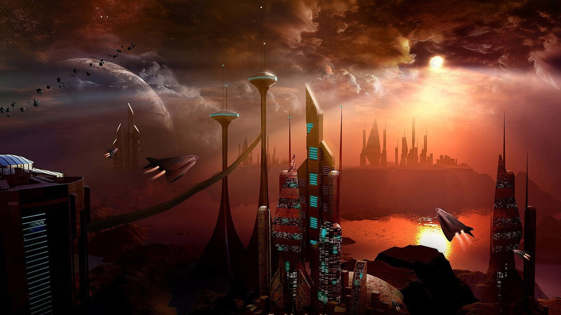 Sciencefiction - Stad  Rood UFO Sciencefiction Wallpaper