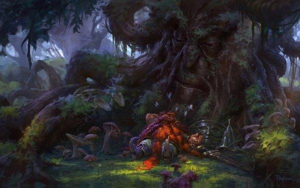 Fantasy Dwarf Sleeping Tree HD Wallpaper | Background Image