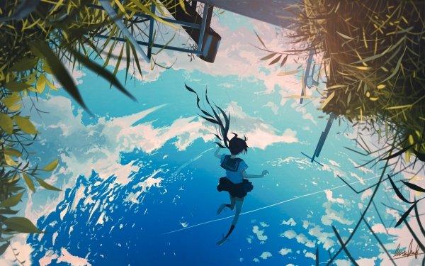 Anime Original Falling Fille Nuage Fond d'écran HD | Arrière-Plan