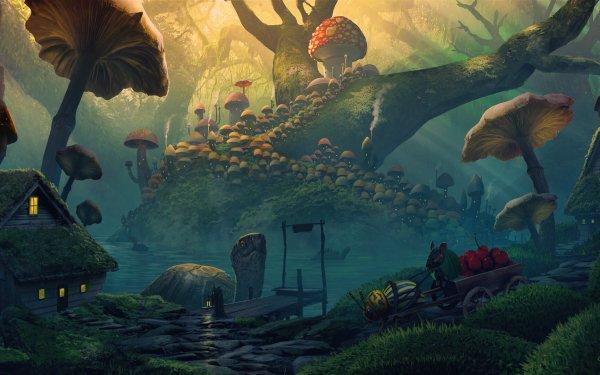 Fantasy Landscape Mushroom Mouse House Turtle HD Wallpaper   Background Image