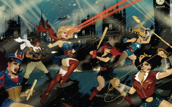 Comics DC Bombshells Wonder Woman Courtney Whitmore Batgirl Kara Zor‑El HD Wallpaper | Background Image