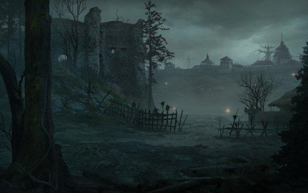 Oscuro Landscape Aldea Fondo de pantalla HD | Fondo de Escritorio