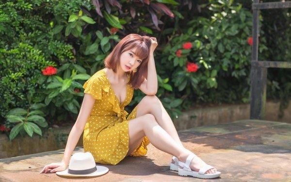 Women Asian Hat Sandal Model Yellow Dress Brunette HD Wallpaper | Background Image