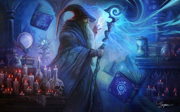 Fantaisie Magicien Livre Crâne Bougie Man Magique Fond d'écran HD | Arrière-Plan