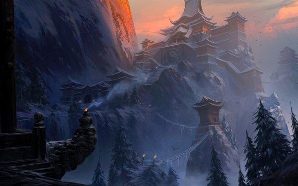 Fantasy Temple Snow Landscape Buddhist Temple HD Wallpaper | Background Image