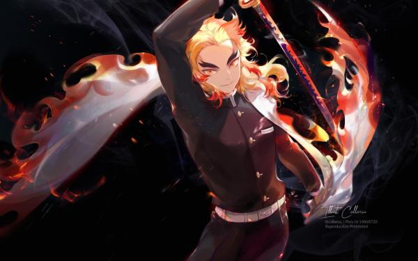 Anime Demon Slayer: Kimetsu no Yaiba Kyojuro Rengoku Fondo de pantalla HD | Fondo de Escritorio