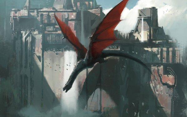 Fantasy Dragon Wyvern City HD Wallpaper   Background Image