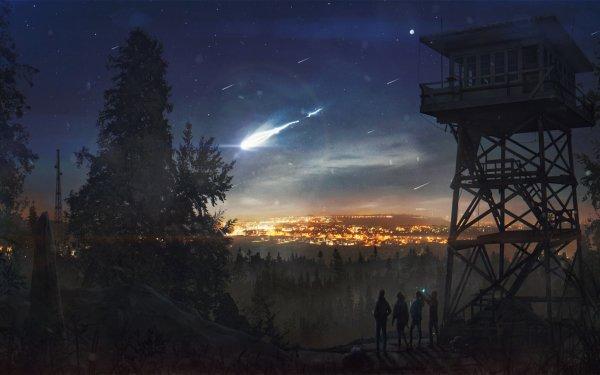Fantasy Landscape Night Comet HD Wallpaper   Background Image