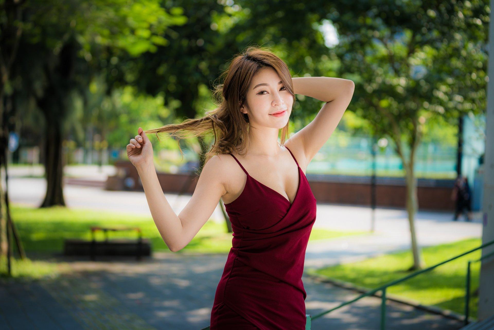Wallpaper of Asian, Brunette, Girl, Model, White Dress