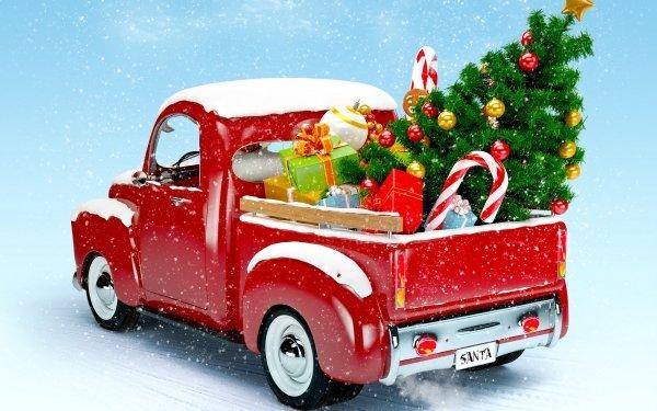 Holiday Christmas Christmas Tree Van HD Wallpaper | Background Image