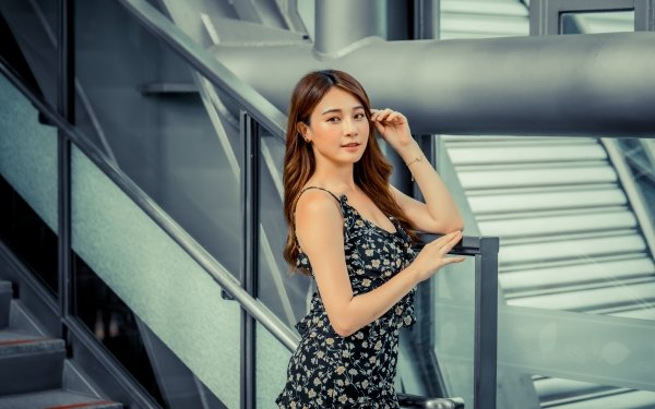 Women Asian Dress Woman Model Brunette Long Hair HD Wallpaper | Background Image
