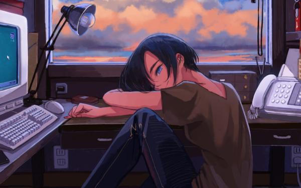 Anime Original Telephone Blue Eyes Lamp Computer HD Wallpaper   Background Image