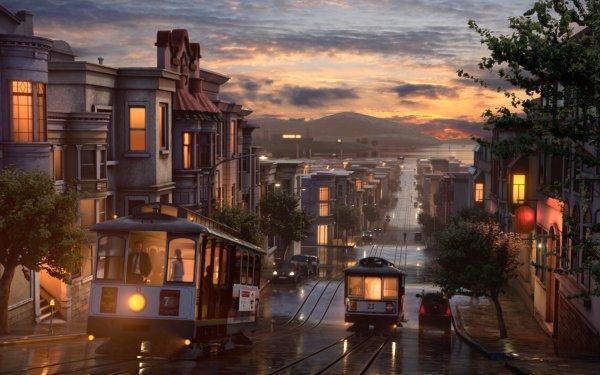 Artistic City Tram HD Wallpaper | Background Image