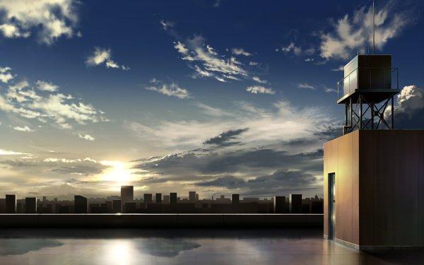 Anime Original City Sky Sunrise HD Wallpaper   Background Image