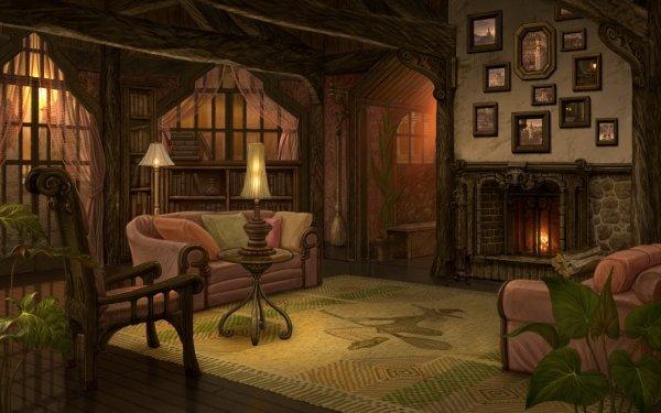 Fantaisie Room Fireplace Fond d'écran HD | Arrière-Plan