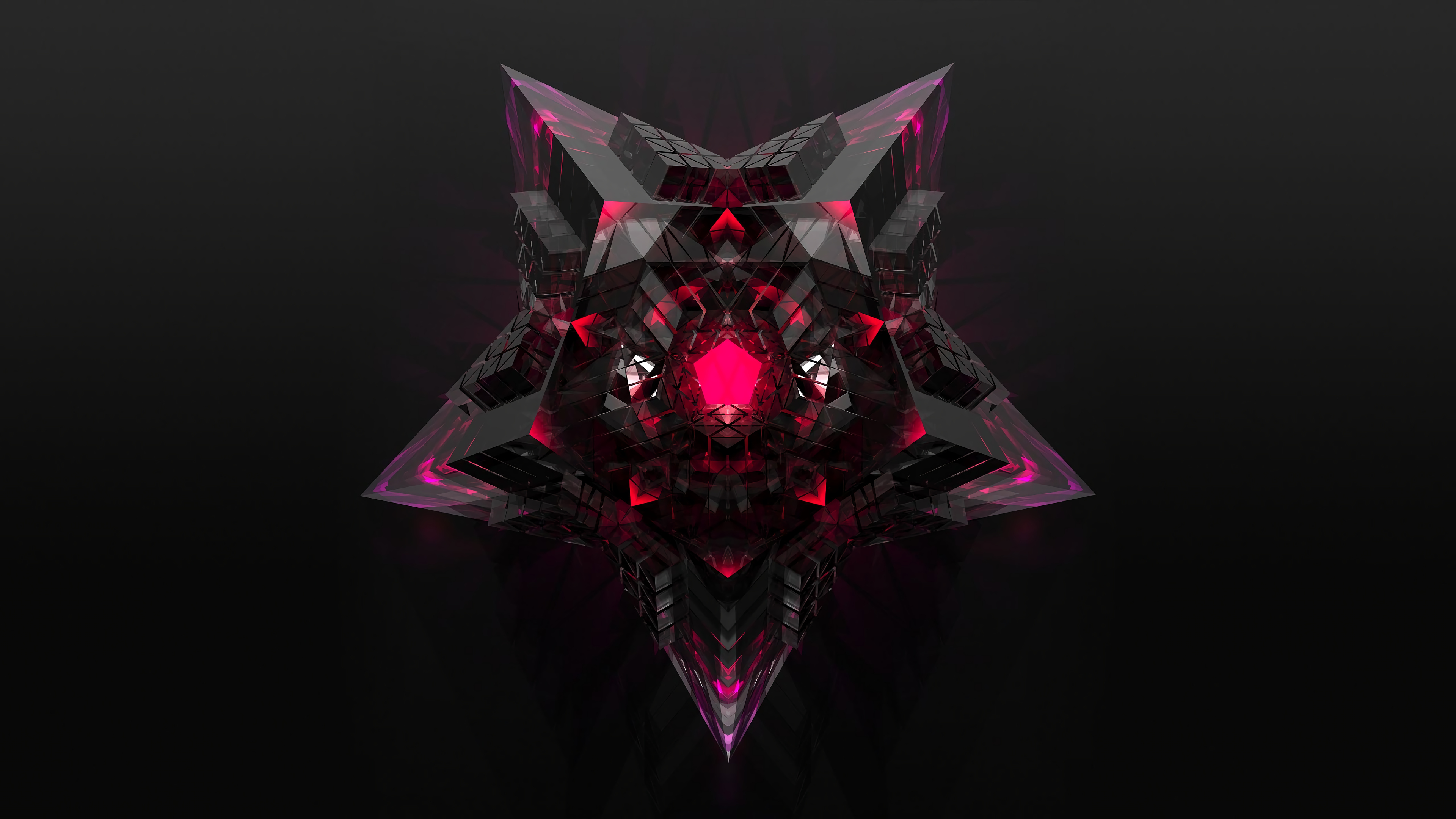 Black And Pink Star 4k Ultra Hd Wallpaper Background Image