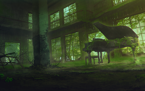 Anime Original Abandoned Building Piano Greenery HD Wallpaper | Background Image