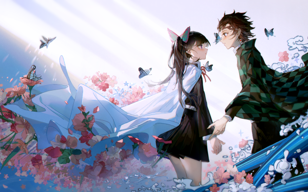 Anime Demon Slayer: Kimetsu no Yaiba Tanjiro Kamado Kanao Tsuyuri Flower HD Wallpaper   Background Image