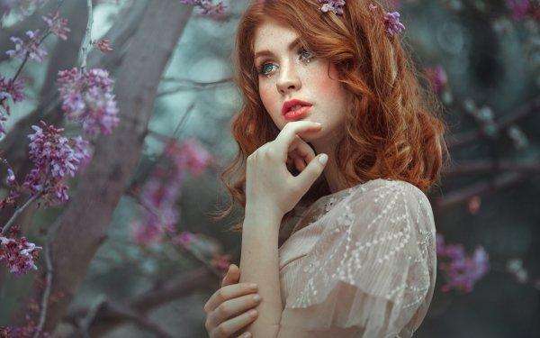 Women Model Models Woman Redhead Blue Eyes Lipstick HD Wallpaper | Background Image