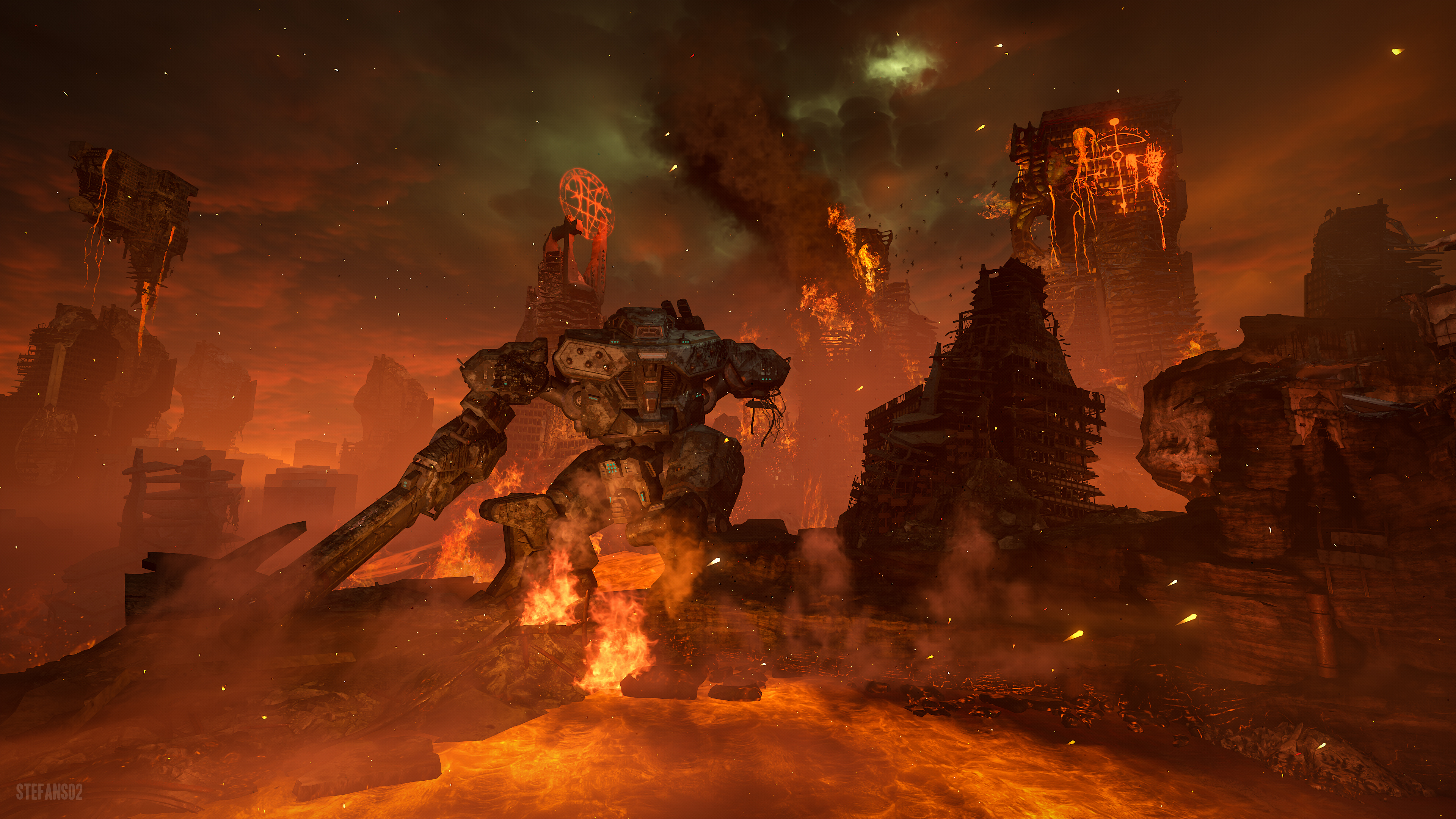 Doom Eternal Hell On Earth 4k Ultra Hd Wallpaper Background